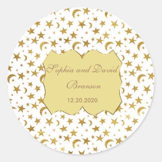 Bling Wedding Golden Ribbon Wedding Custom Classic Round Sticker