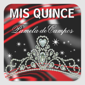 Blinged Out Quinceañera Sparkling Tiara Square Stickers
