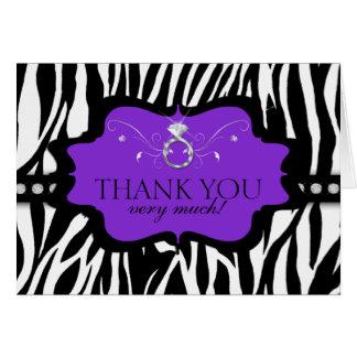 Blingin Zebra Bachelorette Thank You Greeting Cards