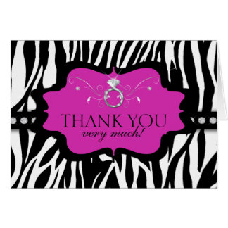 Blingin Zebra Bachelorette Thank You Card