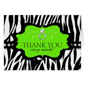 Blingin Zebra Bachelorette Thank You Lime Card