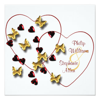 Blingy Butterflies Ruby Hearts Wedding Invitations