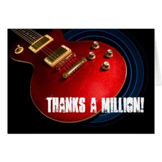 Blingy Red Guitar Thank You Card | Rock and Roll