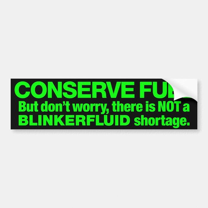 """""""Blinkerfluid"""" Green on Black Bumper Sticker"""