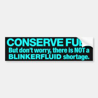 """""""Blinkerfluid"""" Seafoam Green on Black Car Bumper Sticker"""