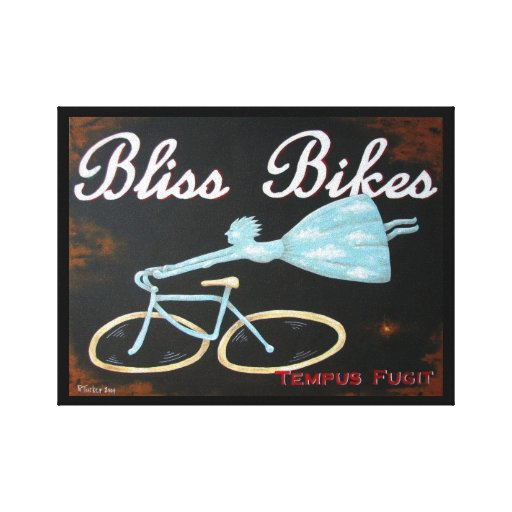 Bliss Bikes Wrapped Canvas by Biddybrain Gallery Wrapped Canvas