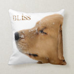 "Bliss Golden Retriever Throw Pillow<br><div class=""desc"">You&#39;ll love this gorgeous throw pillow featuring beautiful full color photography of a headshot of a sweet Golden Retriever with eyes blissfully closed in the snow. Text reads, &quot;Find Your Bliss&quot;, customize to your own text, or delete for no text! Perfect gift for dog lovers! This pillow has the same...</div>"