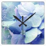 Bliss hydrangea wall clock  blue aqua periwinkle