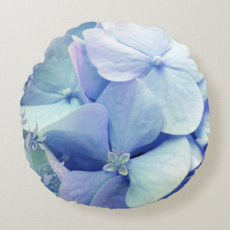Bliss, Periwinkle Blue Hydrangea round pillow