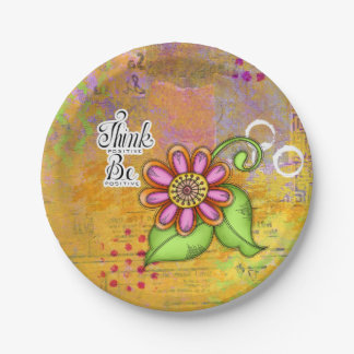 Bliss Positive Thought Doodle Flower Plate