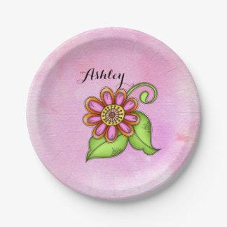 Bliss Watercolor Doodle Flower Paper Plate