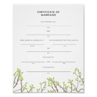 Blissful Branches Keepsake Marriage Certificate Poster