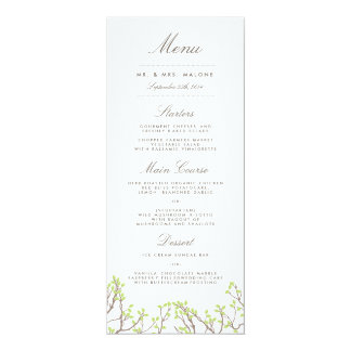 Blissful Branches Wedding Dinner Menu Card