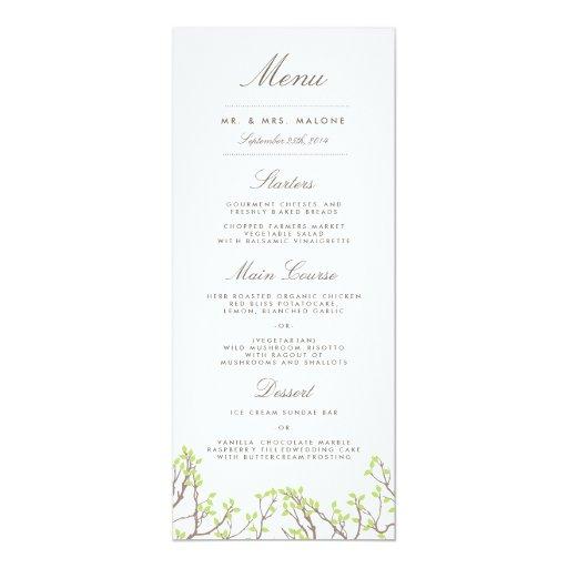 Blissful Branches Wedding Dinner Menu Card