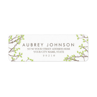 Blissful Branches Wedding Label at Zazzle