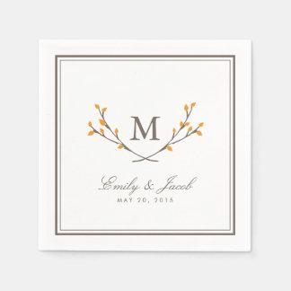 Blissful Branches Wedding Paper Napkins - Orange