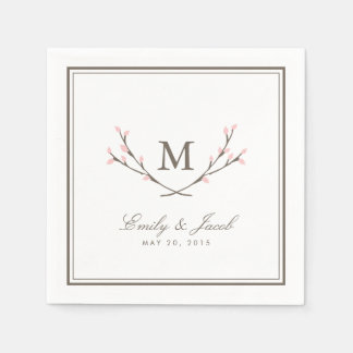 Blissful Branches Wedding Paper Napkins - Pink