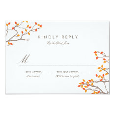 Blissful Branches Wedding RSVP 3.5x5 Paper Invitation Card at Zazzle