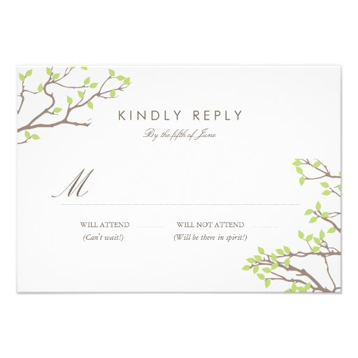Blissful Branches Wedding RSVP (More Colors) Custom Invitation