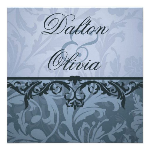 Blissful Brocade Blue Floral Wedding Invitation