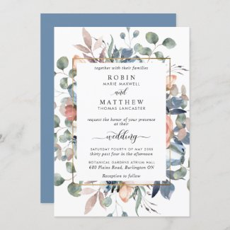 Blissful Floral Dusty Blue and Greenery Wedding Invitation