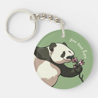 Blissful Panda Smelling Blossom Flowers With Text Keychain