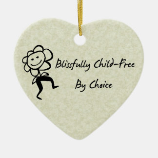 Blissfully Child-Free Double-Sided Heart Ceramic Christmas Ornament