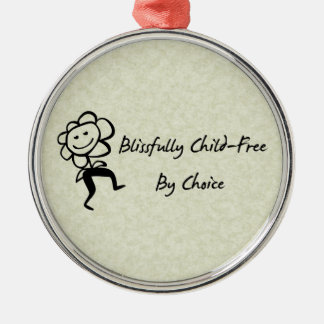 Blissfully Child-Free Round Metal Christmas Ornament