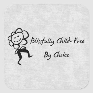 Blissfully Child-Free Square Sticker