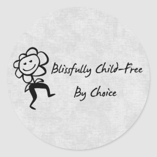 Blissfully Child-Free Classic Round Sticker