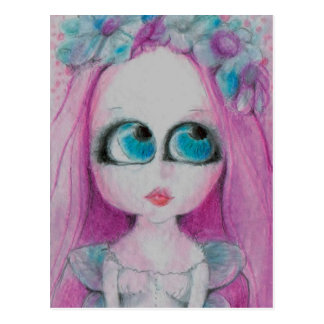 Blithe a Pink flower fairy silently wishing Postcard