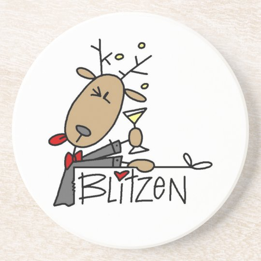 Blitzen Reindeer Christmas Tshirts and Gifts Drink Coaster