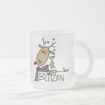 Blitzen Reindeer Christmas Tshirts and Gifts Frosted Glass Coffee Mug