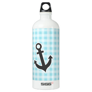 Blizzard Blue Gingham; Anchor Aluminum Water Bottle
