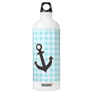 Blizzard Blue Gingham; Anchor Aluminum Water Bottle