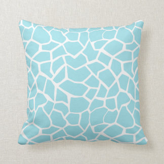 Blizzard Blue Giraffe Animal Print Throw Pillow