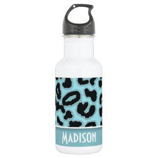 Blizzard Blue Leopard Animal Print; Personalized Stainless Steel Water Bottle