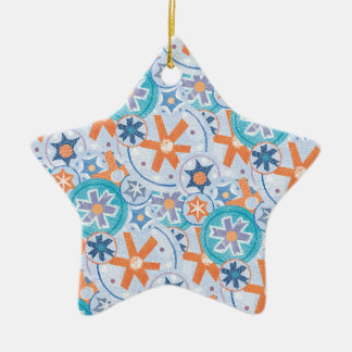 Blizzard Blue Snowflakes Winter Christmas Holiday Ceramic Ornament