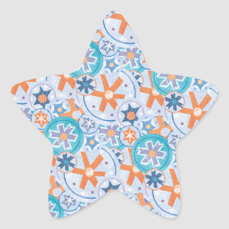 Blizzard Blue Snowflakes Winter Christmas Holiday Star Sticker