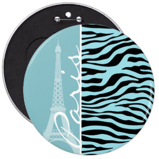 Blizzard Blue Zebra Animal Print; Paris Buttons