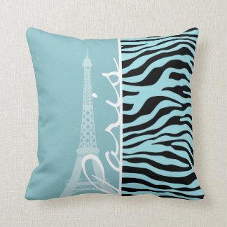 Blizzard Blue Zebra Animal Print; Paris Throw Pillow