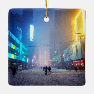 Blizzard In Times Square Ceramic Ornament