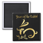 blk/gold 2011 Year of the Rabbit Chinese New Year 2 Inch Square Magnet