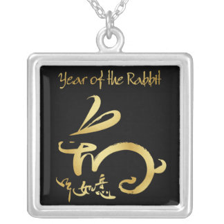 blk/gold 2011 Year of the Rabbit Chinese New Year Square Pendant Necklace