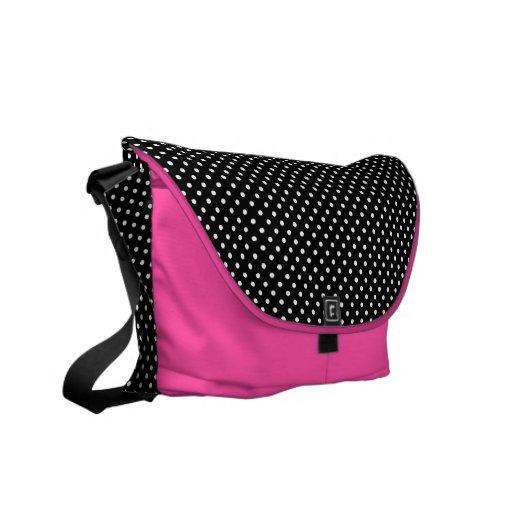 Blk/Wh/pink polka dot messenger bag