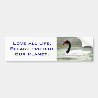 "Blk & White Swan ""Save Our Planet"" bumper sticker"