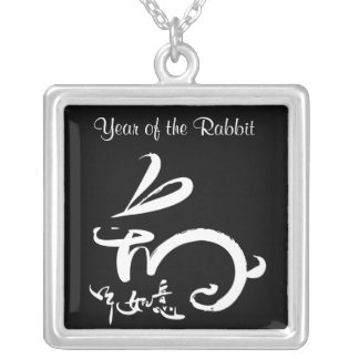 blk / wht 2011 Year of the Rabbit Chinese New Year Square Pendant Necklace
