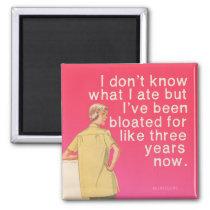 Bloated, funny vintage by bluntcard. Bluntcards. Magnet