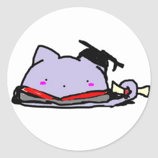 Blobcat graduation classic round sticker