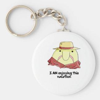 Blobfish on vacation basic round button keychain
